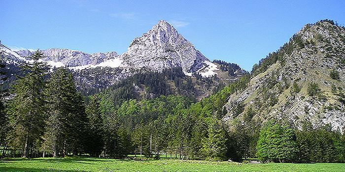 Bild von den Ammergauer Alpen mit grüner Wiese, Berg und blauer Himmel