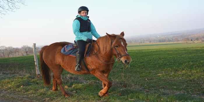 ein junges Mädchen reitet auf einem Pferd