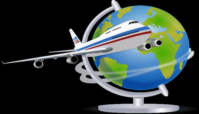 Bild von einem Flugzeug, welches einen Globus umrundet