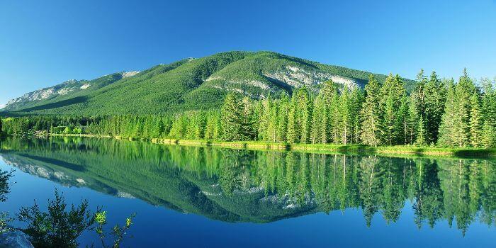 Ein Fluß mit einem mit Bäumen bewachsenen Berg im Hintergrund