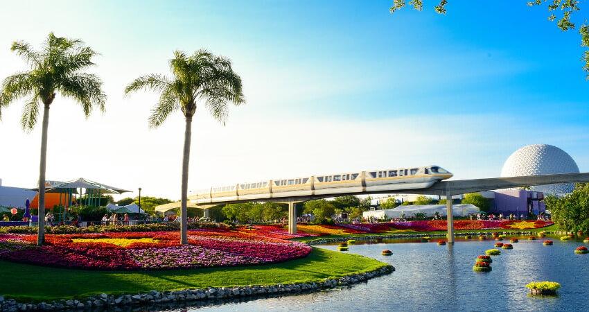 Ein Park mit vielen bunten Blumen und zwei großen Palmen.