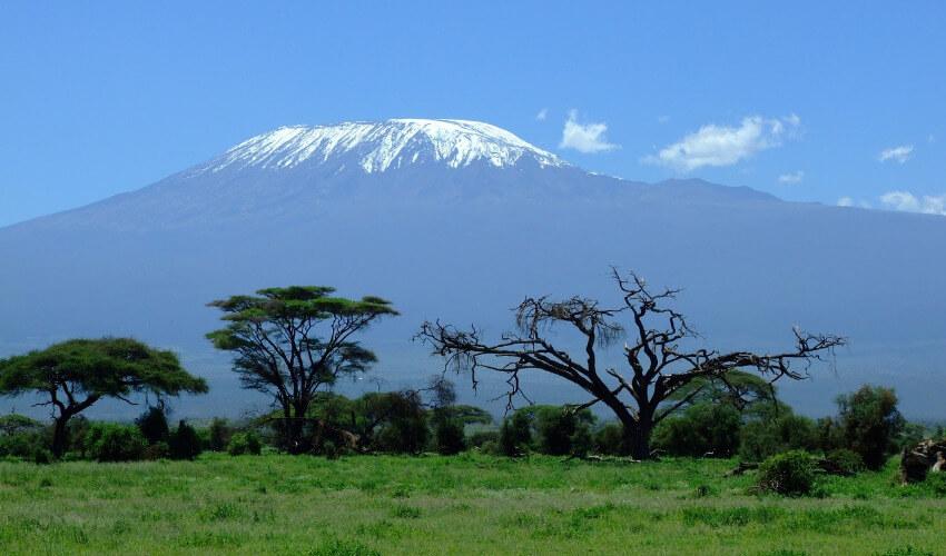 Der Kilimandscharo von der Ferne fotografiert bei blauem Himmel, wobei die Spitze des Bergs mit Schnee bedeckt ist.