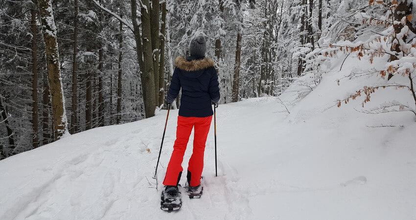 Eine Frau ist mit den Schneeschuhen im Wald unterwegs.