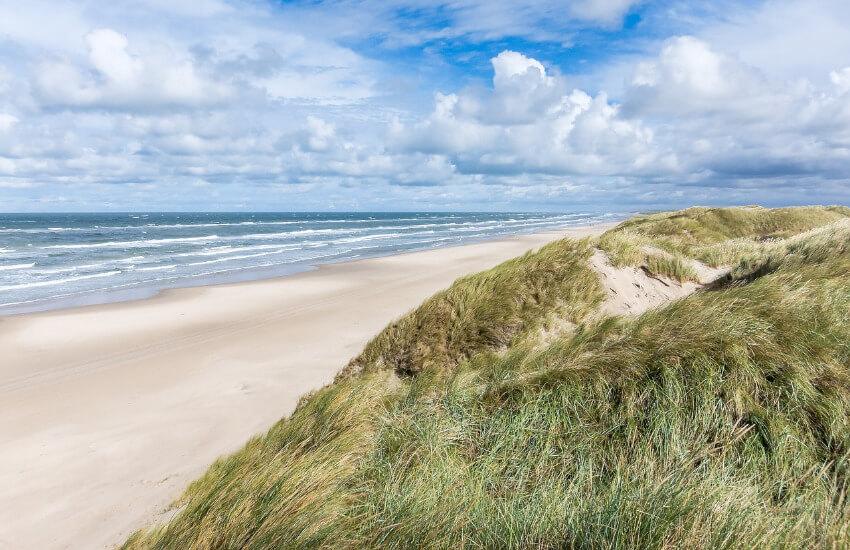 Ein Sandstrand mit einem Hügel mit Dünen überwachsen im Hintergrund.