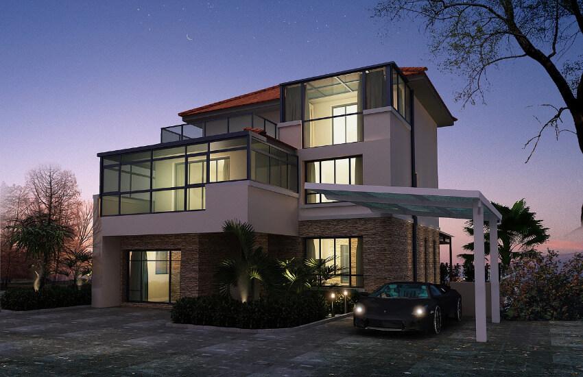 Eine Villa mit großen Glasfenstern und einem Carport, wo ein Sportwagen parkt.